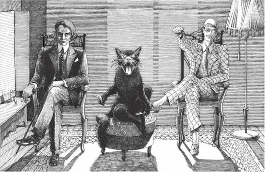 """Azazello, Behemoth, and Koroviev."" (Illustration from   The Master and Margarita  )"
