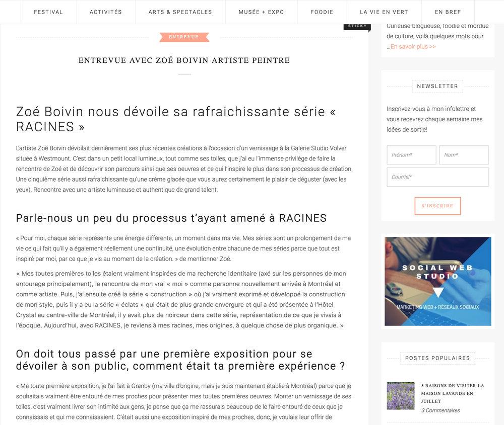 Entrevue avec Zoé Boivin artiste peintre . Isabelle Vallée.  Les Bons Plans , 18 juin 2018.    L'entrevue intégrale  ici .