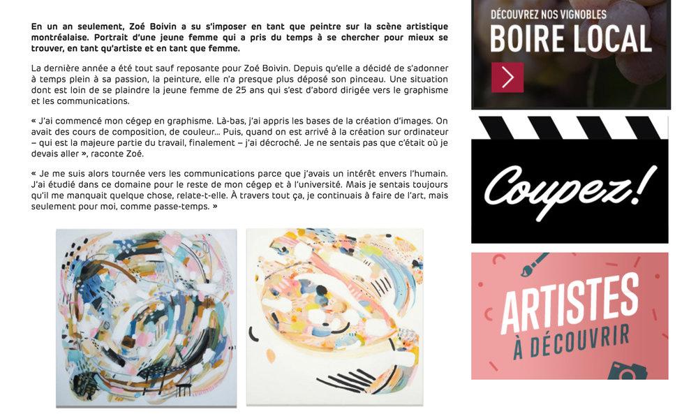 Zoé Boivin : être peintre à l'ère 2.0. Noémie C. Adrien. ICI artv , 28 février 2018. L'entrevue complète  ici .