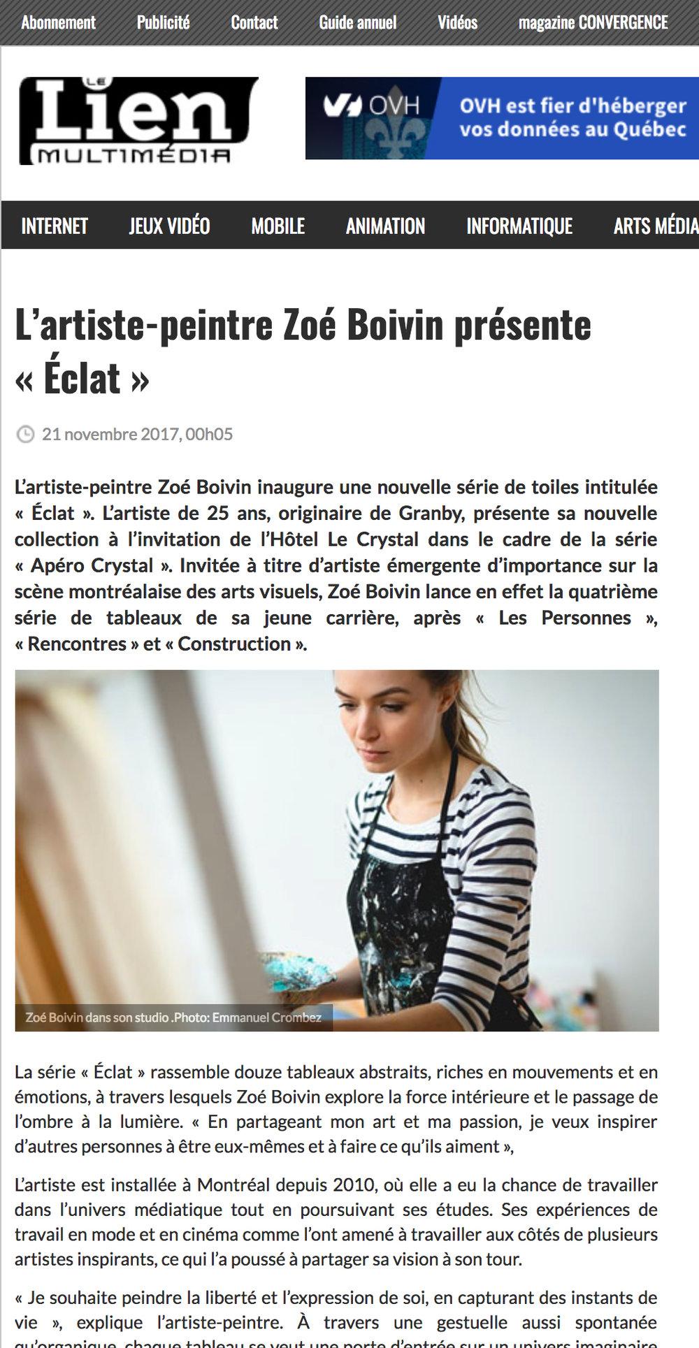 """L'artiste-peintre Zoé Boivin présente """"Éclat"""". Steeve Laprise. Lien Multimédia , 21 novembre 2017. L'article complet  ici ."""