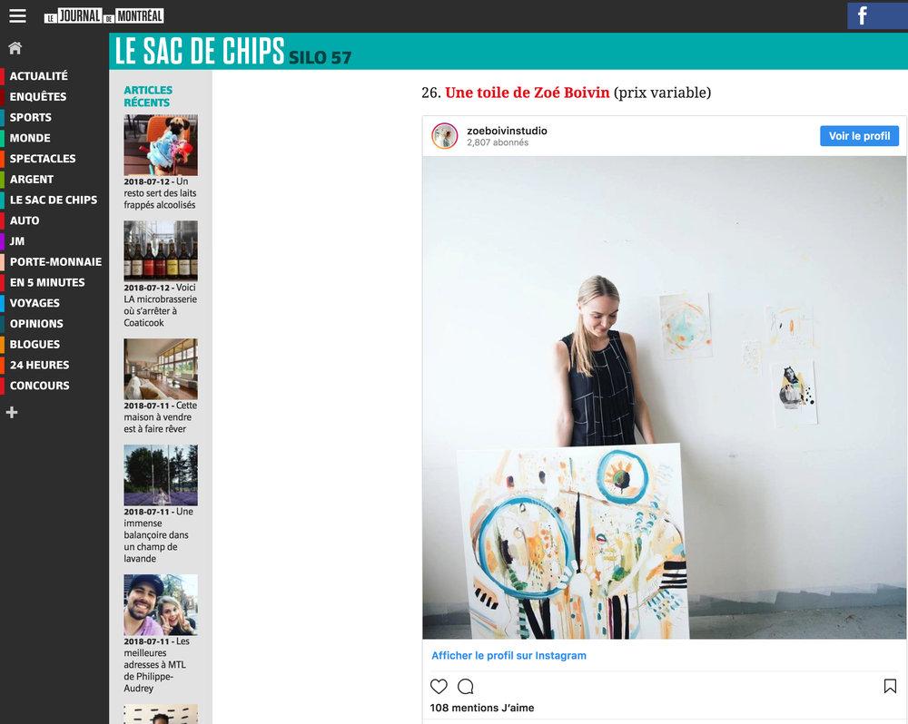 50 idées cadeaux pour votre amoureuse selon sa personnalité. Mélodie Lamoureux. Journal de Montréal , 4 décembre 2017. L'article complet  ici .