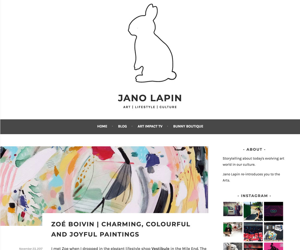 Zoé Boivin: Charming, Colourful and Joyful paintings. Anne Jano.  Jano Lapin , 23 novembre 2017. L'article complet  ici .