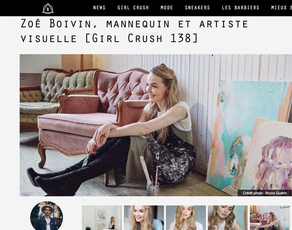 Zoé Boivin, Mannequin et Artiste Visuelle. Alexandre Turcotte. Ton Barbier , 5 mai 2017. L'entrevue complète  ici .