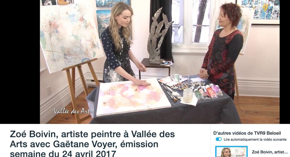 Passage à l'émission La Vallée des Arts . Gaëtane Voyer. TVR9 7 mars 2017. L'émission complète  ici .