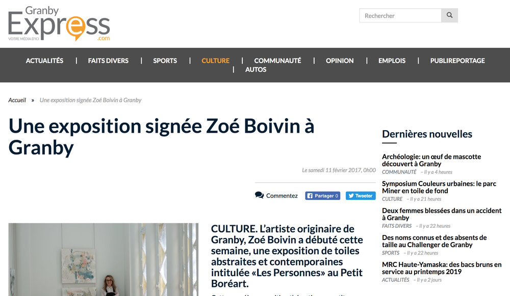 Une exposition signée Zoé Boivin à Granby. Mathieu Majeau. Granby Express , 11 février 2017. L'article complet  ici .