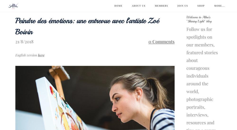Peindre des émotions: Une entrevue avec l'artiste Zoé Boivin . Kristina Kasparian.  Alba: A new dawn , 21 août 2018.    L'entrevue intégrale  ici .
