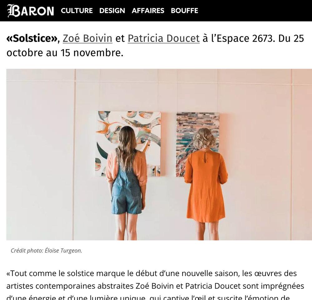 Les expositions à visiter en octobre à Montréal. Beha Claire-Marine.  Baron Mag , 1er octobre 2018.  L'article intégral  ici.