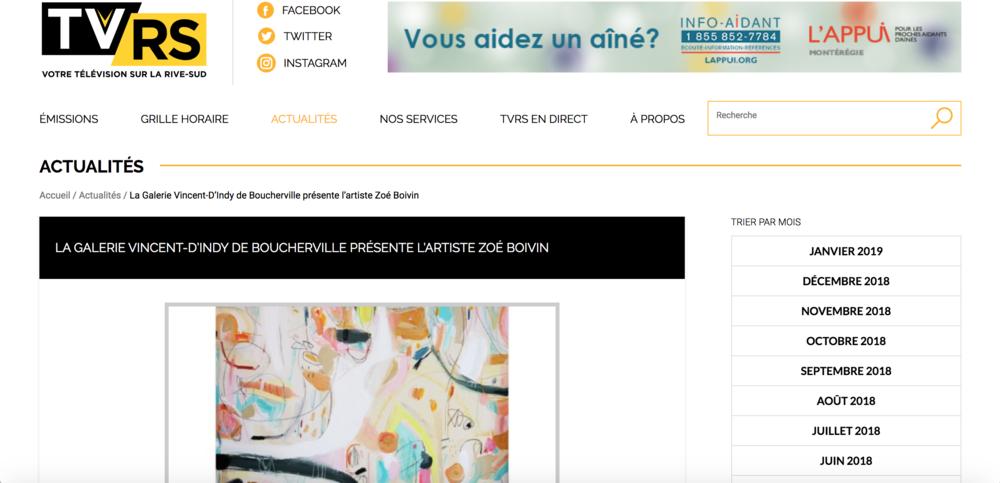 La Galerie Vincent D'Indy de Boucherville présente l'artiste Zoé Boivin. Rosanne Lévesque.  TVRS , 18 août 2018.   L'article complet  ici.