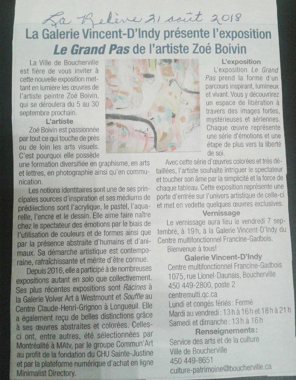 La Galerie Vincent D'Indy présente l'exposition Le Grand Pas de l'artiste Zoé Boivin.  La Relève , 21 août 2018.