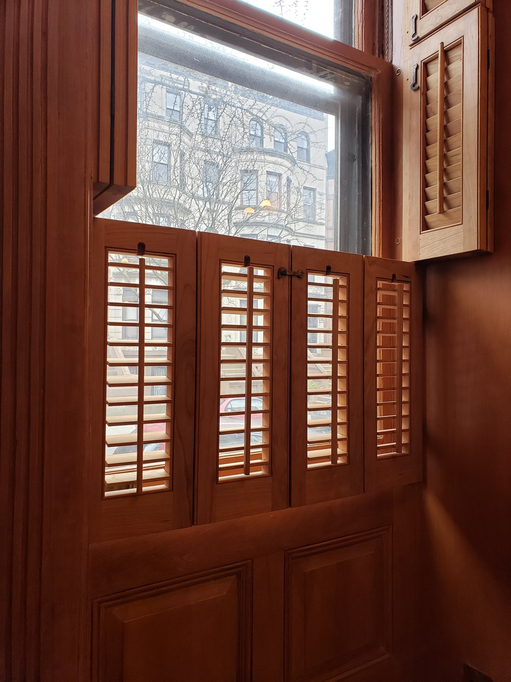 3 Tier Louvered Cherry Shutters, Park Slope Brooklyn