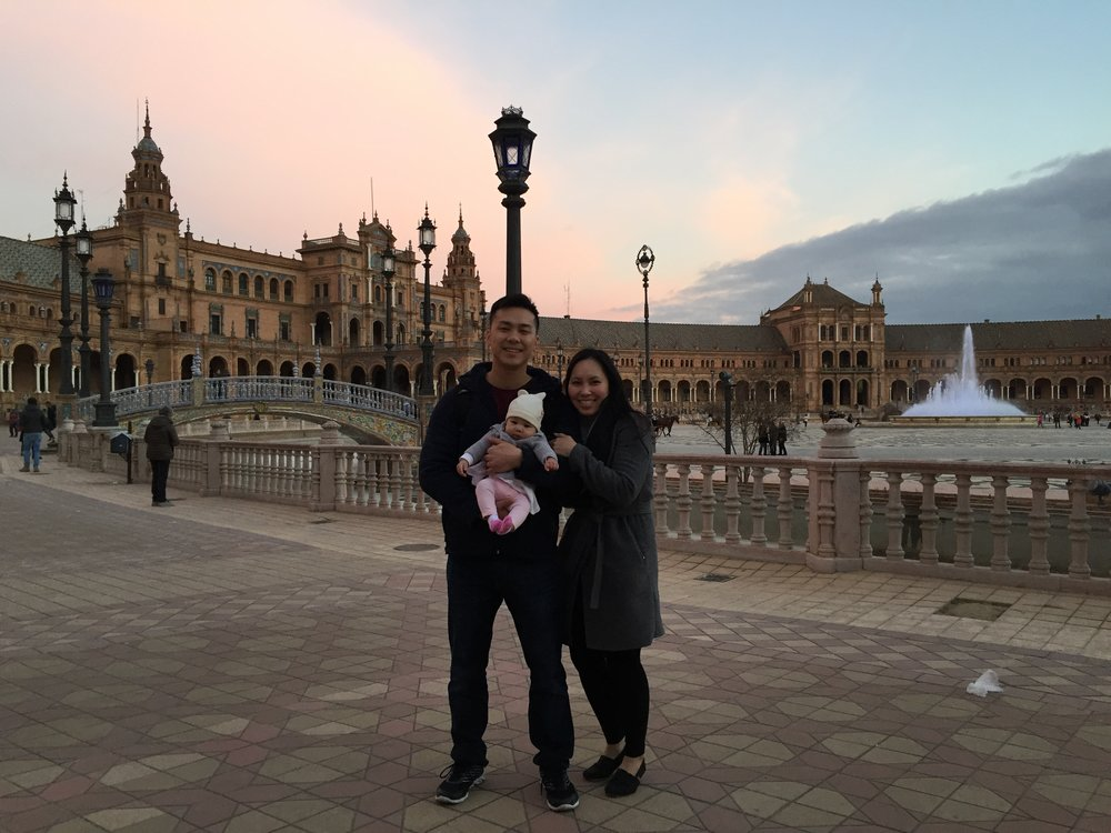 Just in time to catch the sunset at the Plaza de Espana
