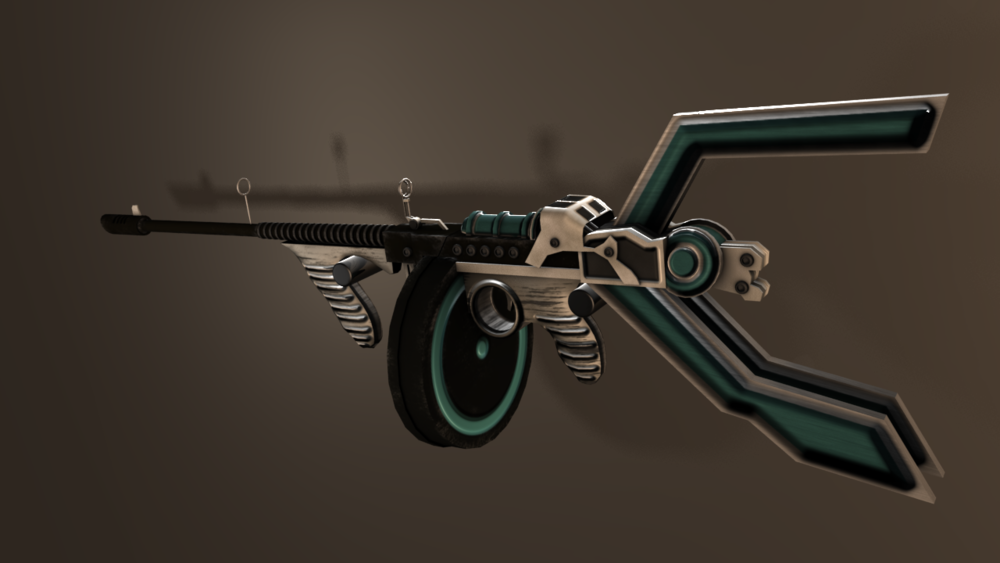 """Space Tommy Gun"" Rendered in Maya"