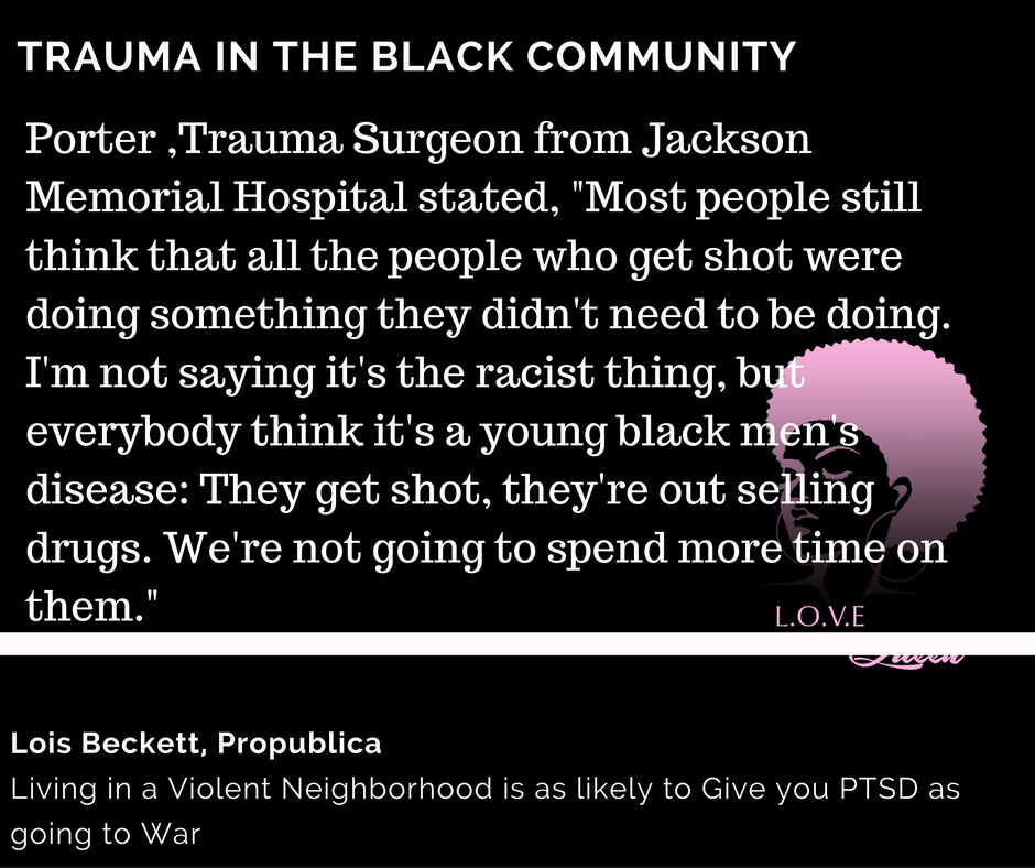 Emergency Department sees many forms of trauma especially involving the Black community. As medical professionals, we have to check our biases at the door when it comes to treating patients from different backgrounds. Not every black person who is a victim to community violence (i.e. gun violence) were directly involved in it or asked for it. There are many people who are victims were just playing in their front yard, sitting in their room, on their porch, buying some food at a store. Unfortunately, they were victims. We have to realize that it is our chance to see a trend of how traumatic events directly AND indirectly affect people. We have to be aware of how the environment plays a role in causing trauma. Community violence is one of the most common factors for an individual to experience trauma. Medical and mental health professionals, we have to check our racial biases at the door before treating patients.