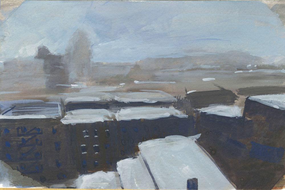 "Snow Day, Gouache, 4 x 6"" 2017."