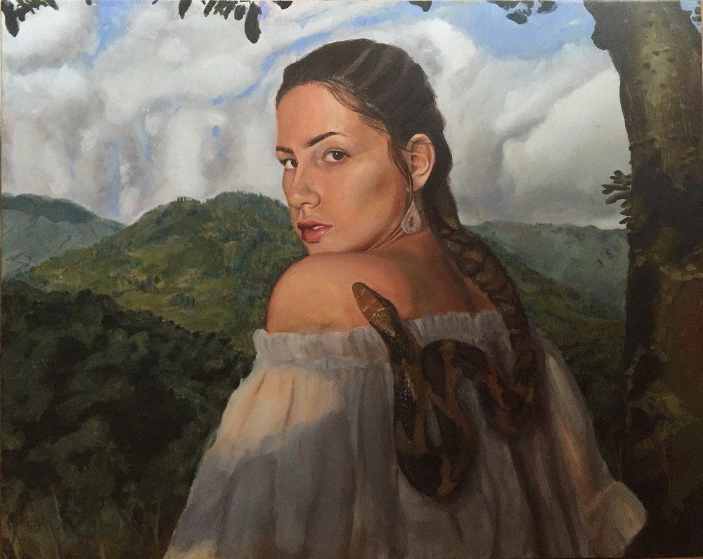 """Braid, Oil on Panel, 20 x 16"""" 2016"""