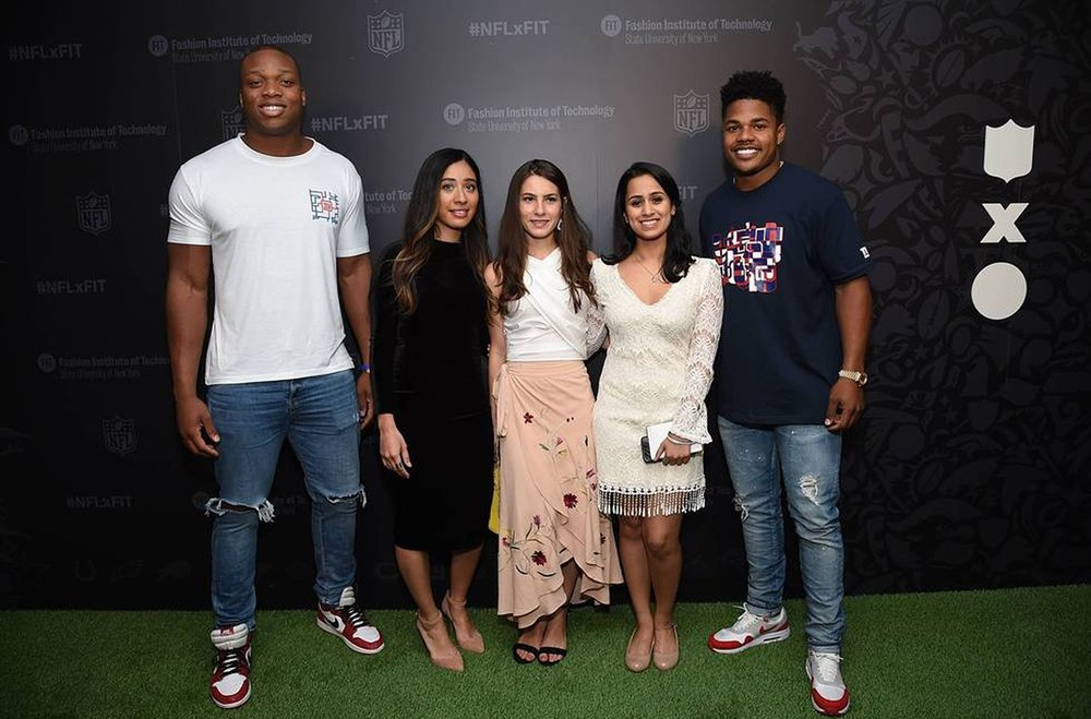 Team Blitz photographed with NY Giants football players Romeo Okwara (L) and Sterling Shepard (R). [Missing Daphne Lee]