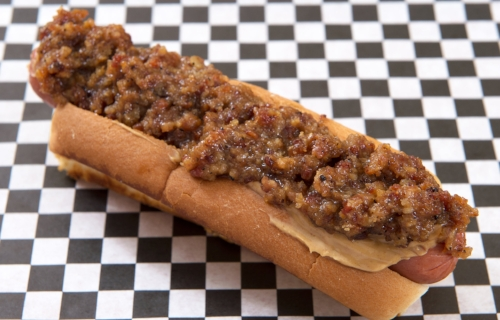 Houndog Peanut butter and bacon jam! Elvis' favorite dog.