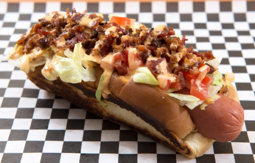 BLT Dog Bacon, lettuce, tomato and sriracha mayo.
