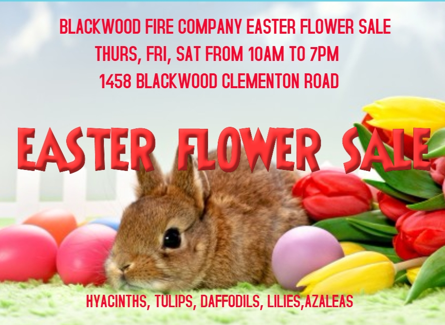 The Blackwood Fire Company is selling Easter Flowers at our Blackwood Clementon Road station (1458 Blackwood Clementon Road) Thursday, Friday and Saturday from 10am to 7pm.