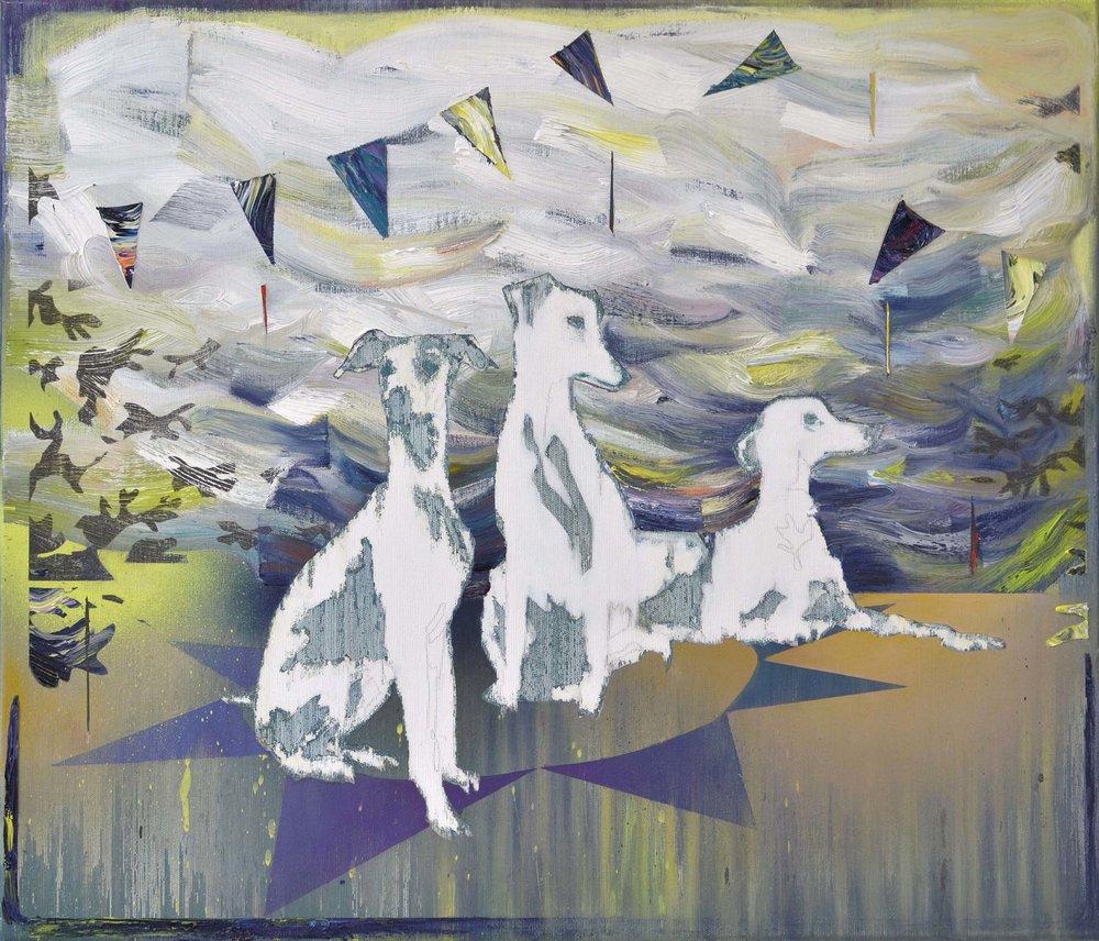 Drei Hunde, Sizilien   oil on canvas 60 x 70 cm, 2015