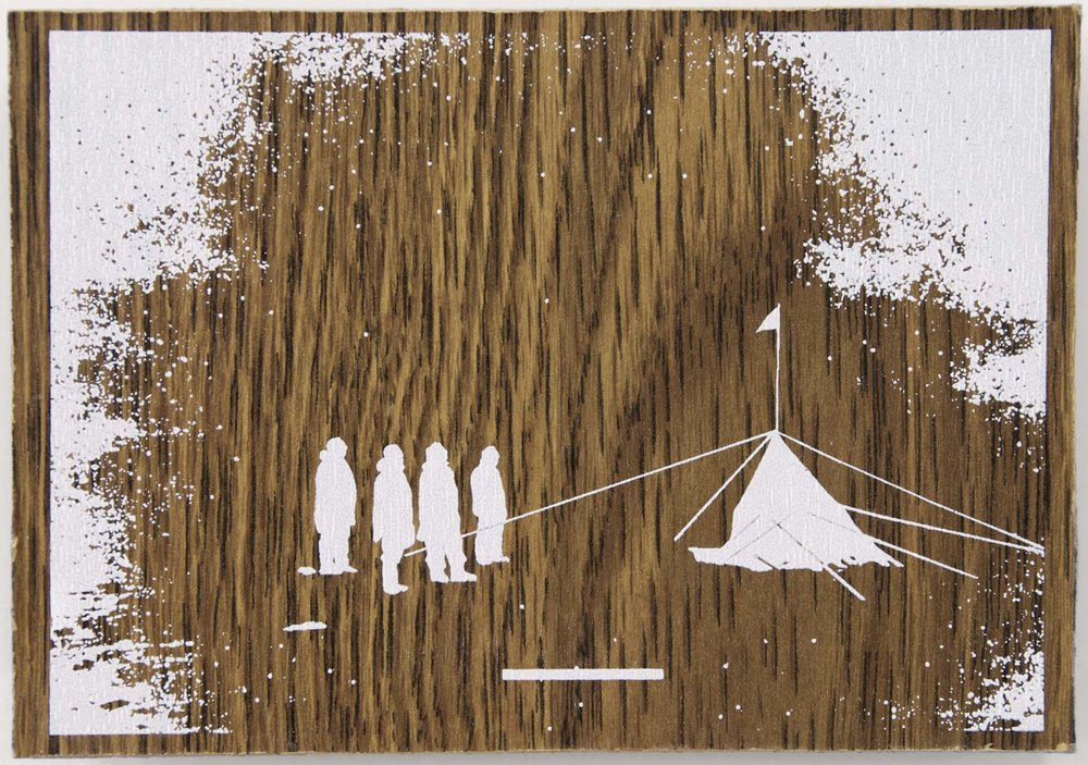 Polar  Silkscreen on wood 11 x 15 cm, 2010