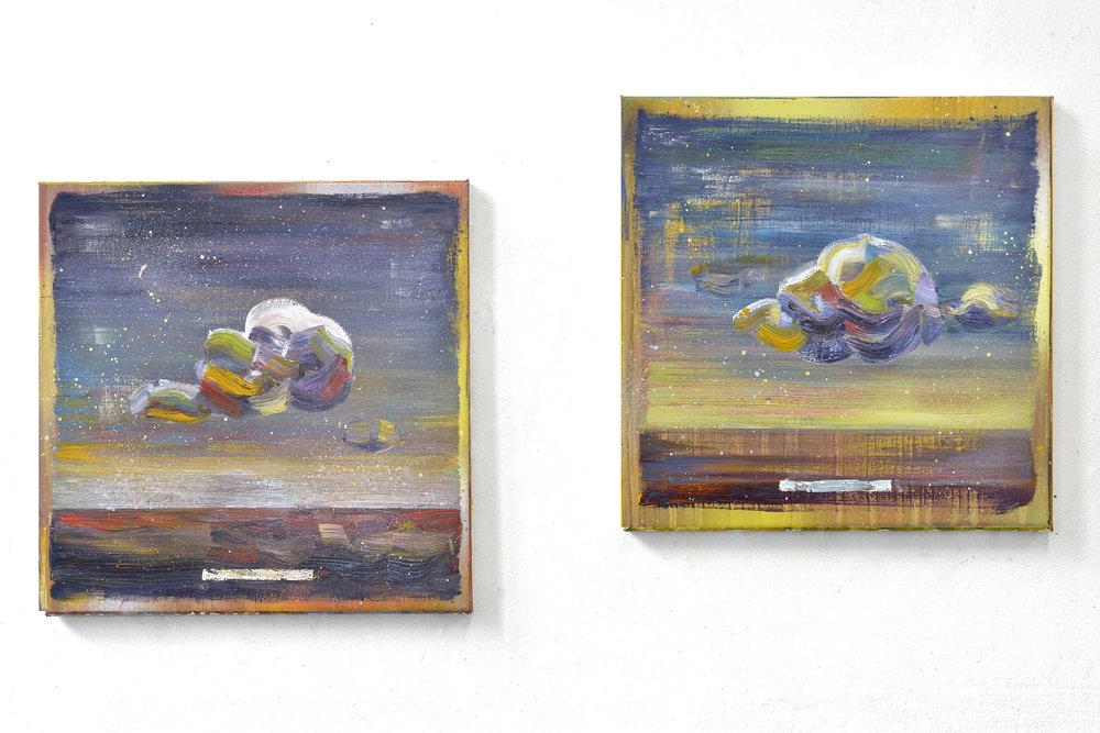 Sky Study I+II  oil on canvas 35 x 35 cm, 2017