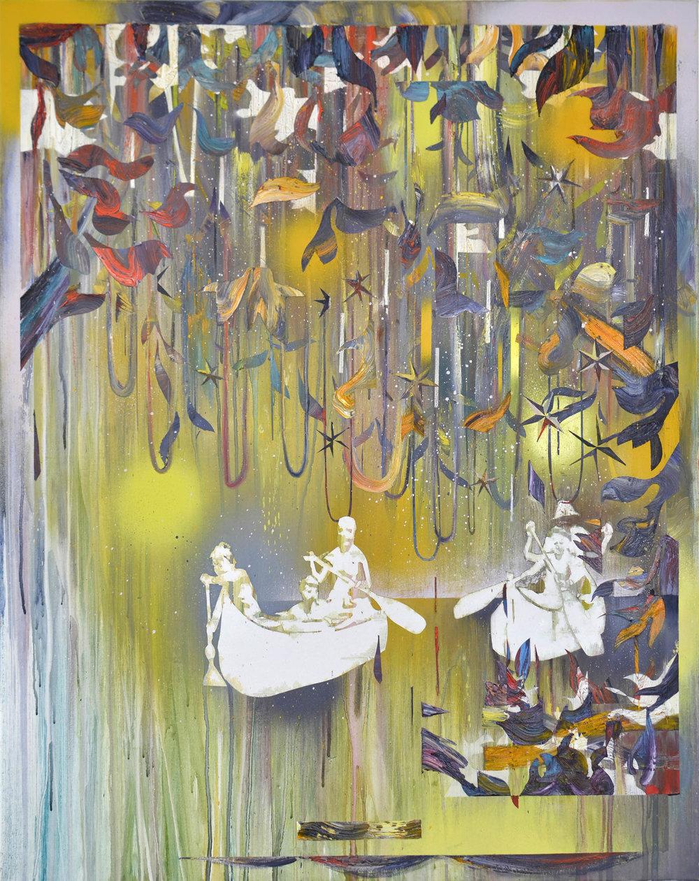 Sonntags im Schilf  oil on canvas 120 x 95 cm, 2017