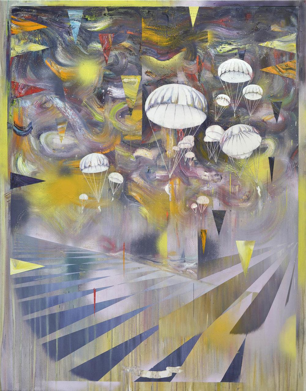 Matthias Moravek %22 Landung%22, Öl,Lack auf Leinwand, 190 x 165 cm, 2016.jpg