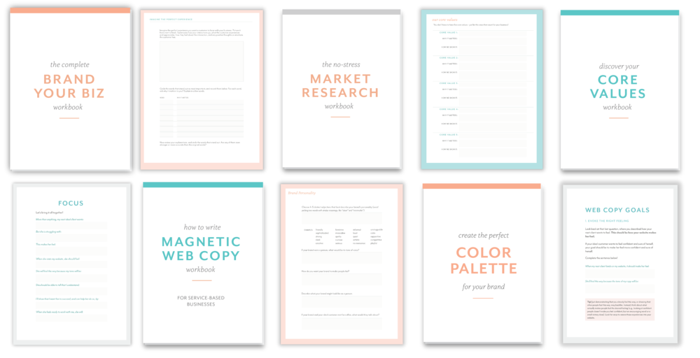 Free branding, copywriting, career planning, and other workbooks.