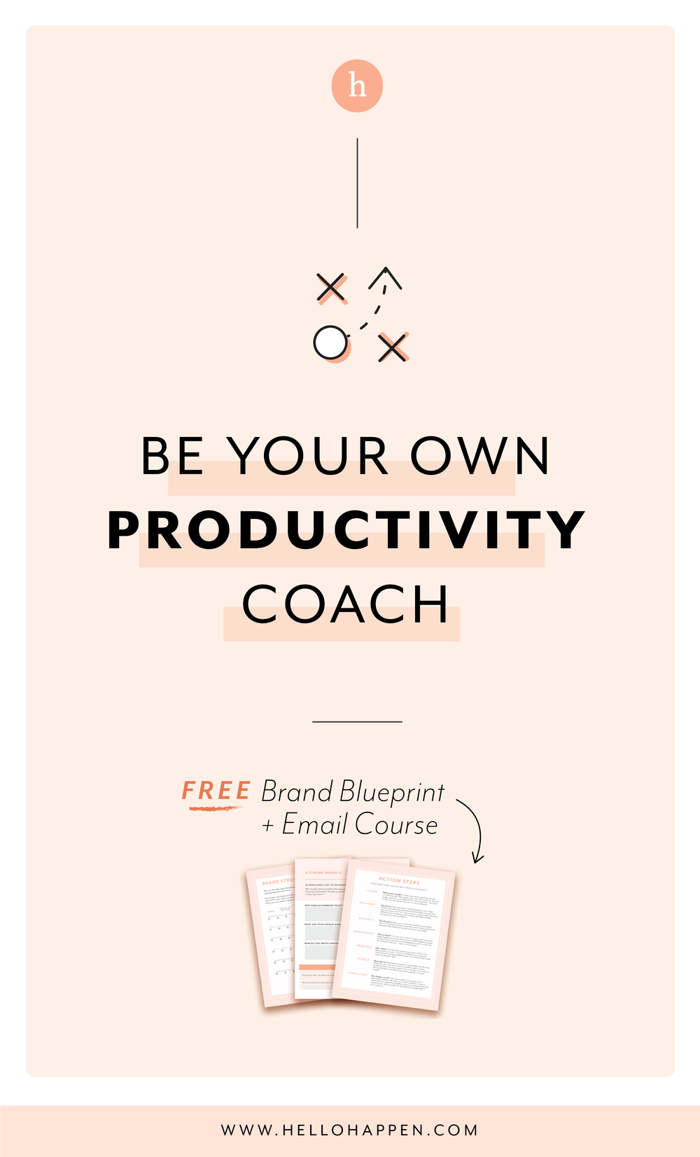 How to be your OWN productivity coach and get more done! Read the post, plus download the free Brand Blueprint + email course. #businesscoaching // Hellohappen Brand Strategy