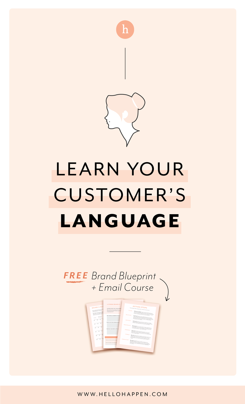 Learn your customer's language for better client attraction! Read the post, plus download the free Brand Blueprint + email course. #brandstrategy // Hellohappen Brand Strategy