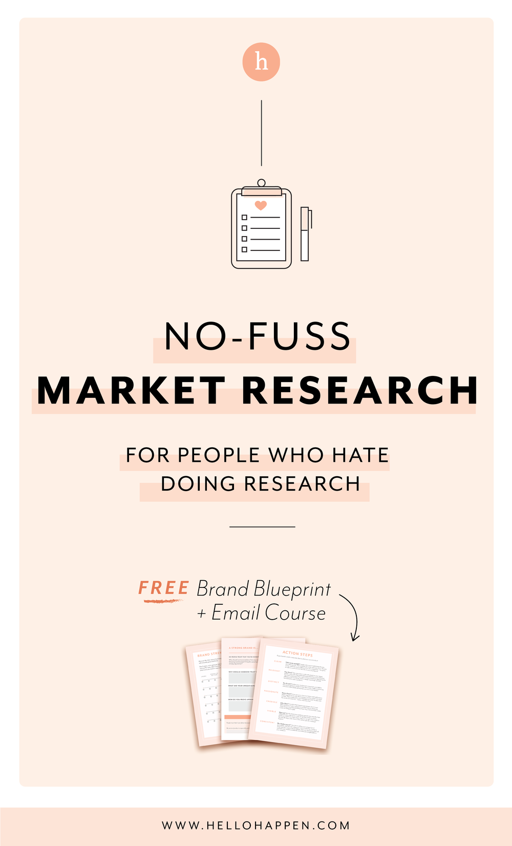 Market research doesn't have to be a slog! Here's an easy process to get it done. Read the post, plus download the free Brand Blueprint + email course. #brandstrategy // Hellohappen Brand Strategy