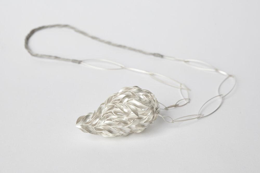 Neckpiece , Fine silver, Silk, 2016