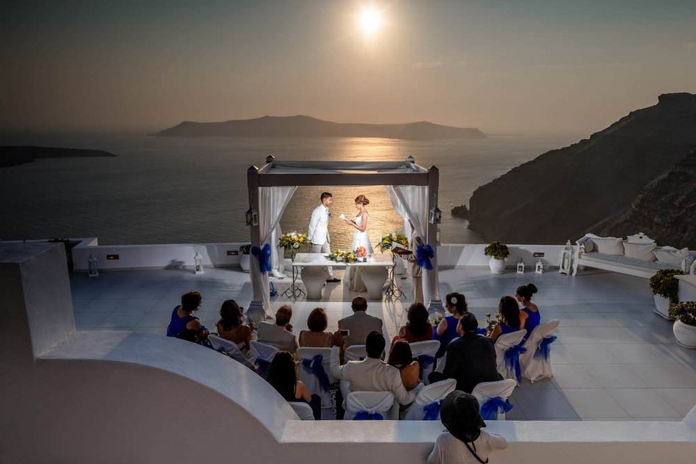 Luxury sunset Indian wedding in Santorini by one of the 6 Best Wedding Photographers in the World