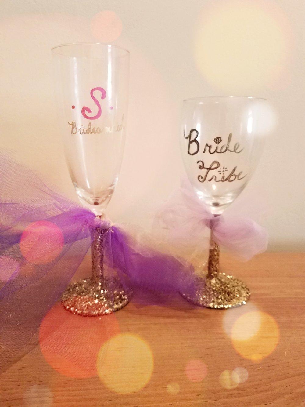 Bridal Party Themed /Sip & Paint Wine Glasses — S&L Mobile Paint ...