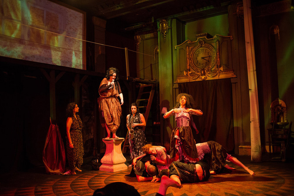 (left to right)  Lucía Mier y Terán Romero ,  Ruth Margraff ,  Anita Darwish ,  Cooper Forsman ,  Kelsey Shipley ,  Nigel Brown ,  Emma Ladji  and  McCambridge Dowd-Whipple  in  Red Tape Theatre  and  Walkabout Theater Company's  world premiere co-production of  MOTHER OF SMOKE . Photo by Austin D. Oie.