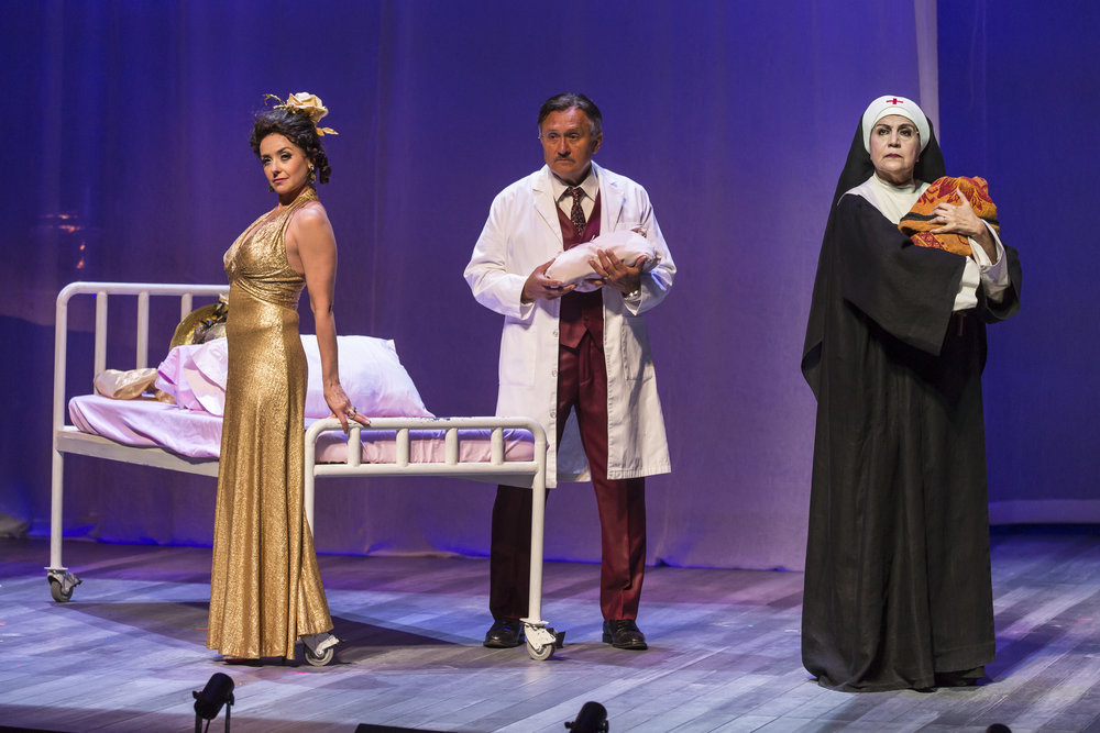 Ruth Livier (Fabiola Castillo), Ricardo Gutierrez (Dr. Jorge Mendoza) and Evelina Fernandez (Sister Sonia) in the Chicago premiere of Karen Zacarías' Destiny of Desire. Photo by Liz Lauren.