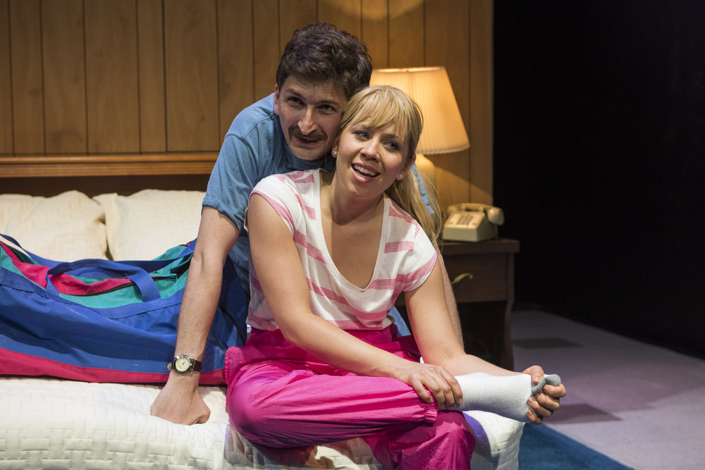 Tyler Ravelson (Jeff) and Leah Raidt (T.) in T. at American Theater Company, credit Michael Brosilow