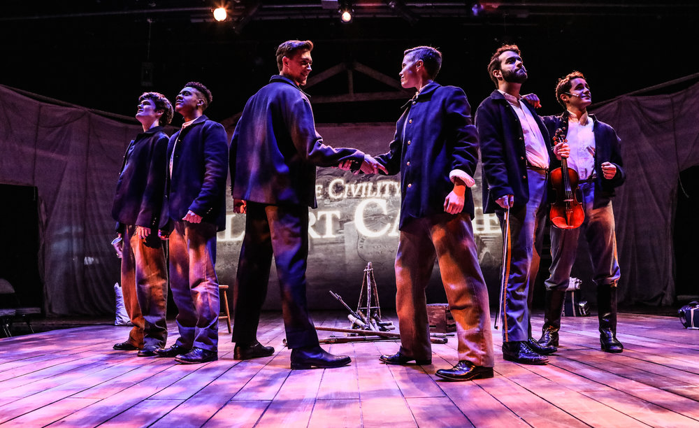 (L to R) Chuck Quinn IV as Billy, Cameron J. Armstrong as Walter, Billy Rude as Jeffrey, Dani Shay as Young Albert, Josiah Robinson (Ensemble) and Roy Samra (Ensemble).