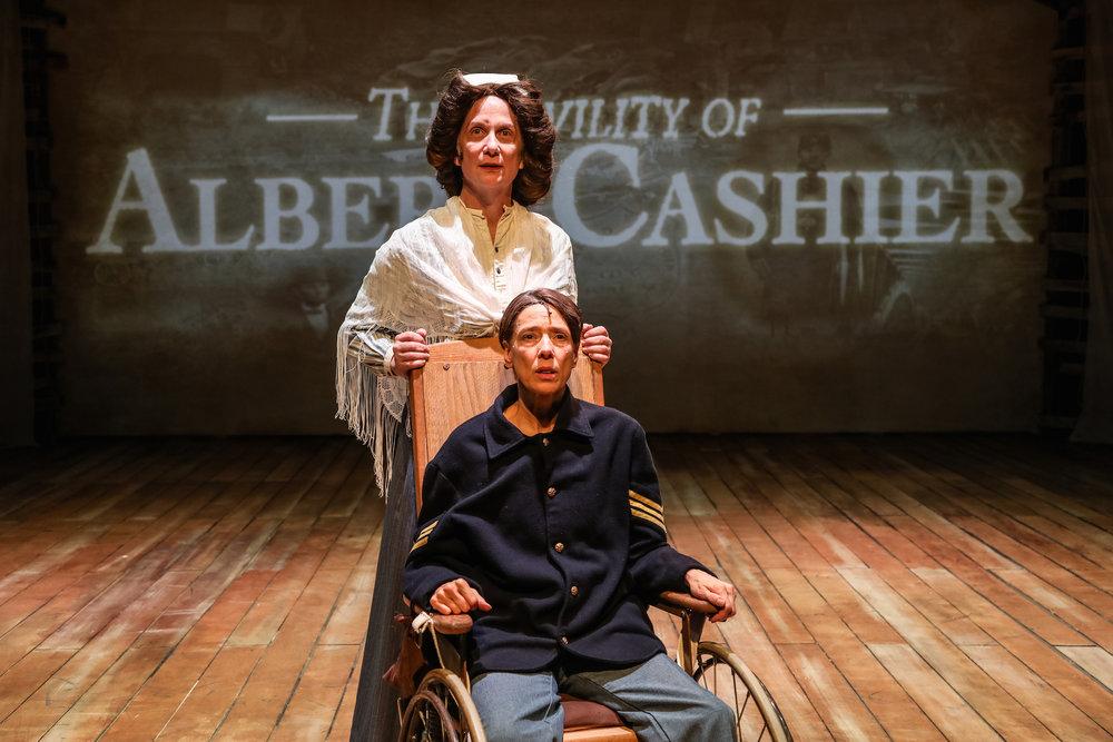 (Bottom) Katherine Condit as Old Albert and (Top) Delia Kropp as Nurse.