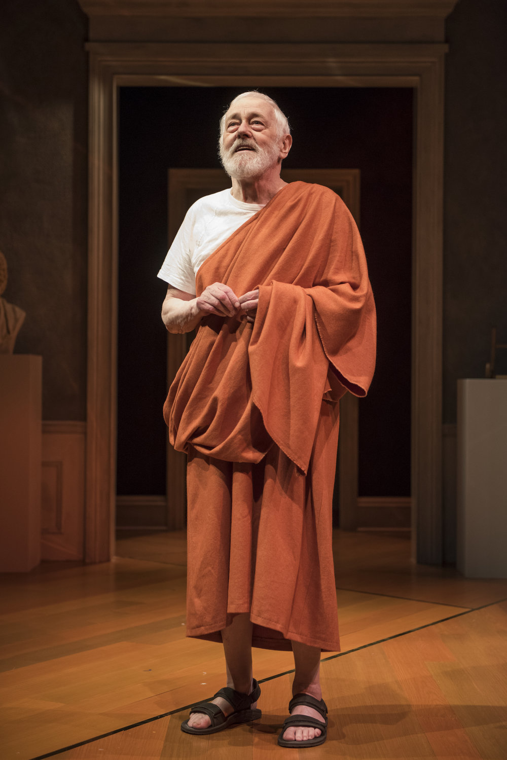 Pictured ensemble member John Mahoney (Homer) in Steppenwolf's Chicago premiere production of The Rembrandt. Photo by Michael Brosilow