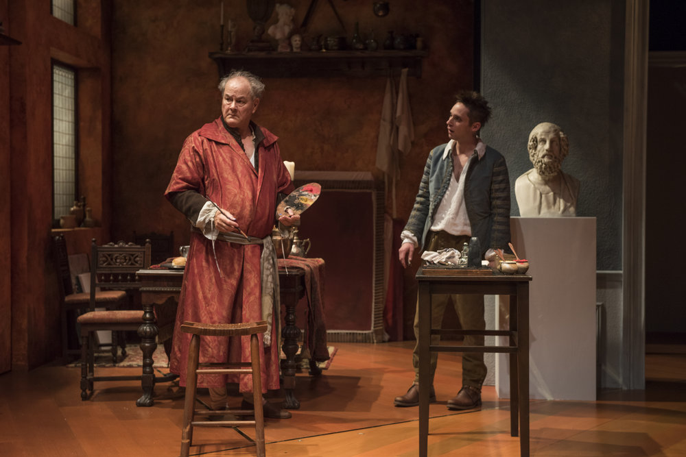 Pictured (left to right) ensemble member Francis Guinan (Rembrandt) and Ty Olwin (Titus) in Steppenwolf's Chicago premiere production of The Rembrandt. Photo by Michael Brosilow.