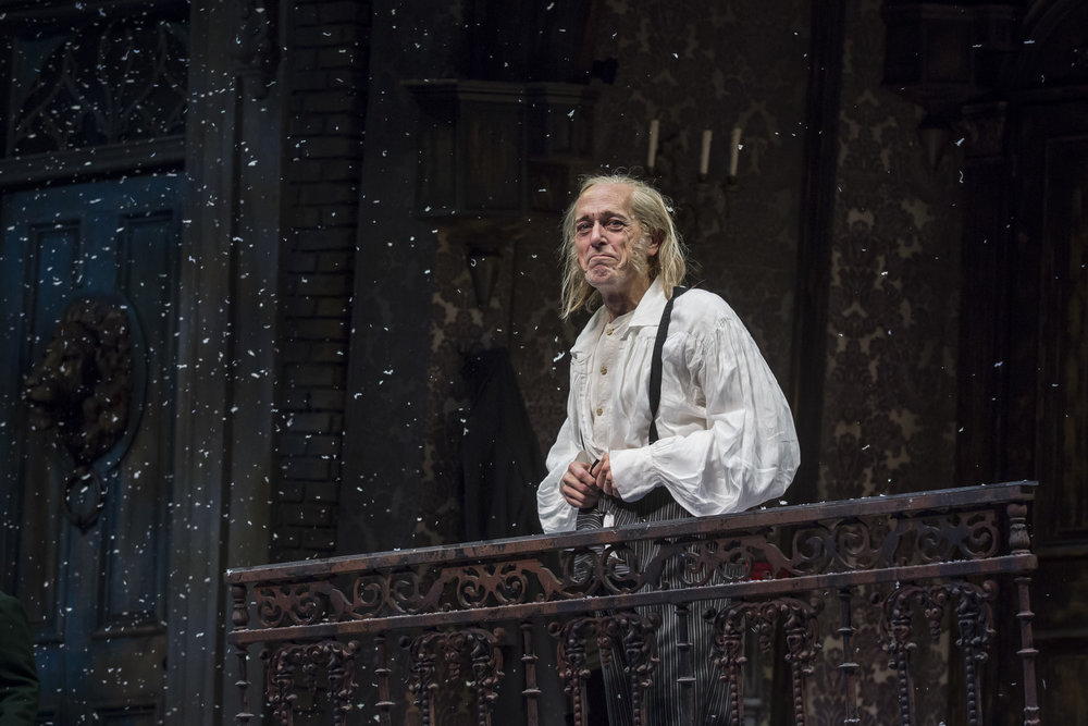 Larry Yando  (Ebenezer Scrooge) in the 40th annual production of  A Christmas Carol , directed by Henry Wishcamper.