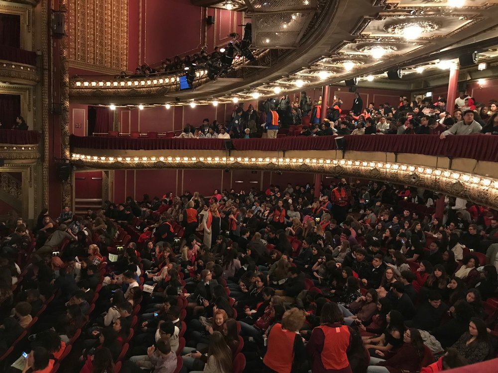 CIBC Theatre fills with students and teachers from Chicago Public Schools as part for the Hamilton Education Program. Photo by Mary Crylen.