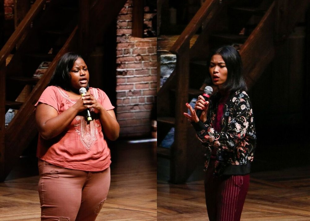 Yasmine Hadi (left) from Fenger Academy High School and Holly Rosales (right) from Waukegan High School each perform at The CIBC Theatre in part of The Hamilton Education Program with Chicago Public Schools. Photo by Mary Crylen.