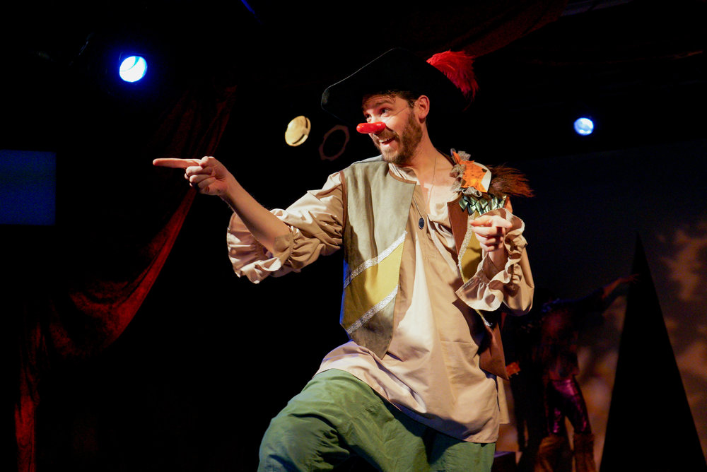 Benjamin Ponce as Cyrano in  Little Red Cyrano  at Red Theater Chicago.   hoto by M. Freer Photography