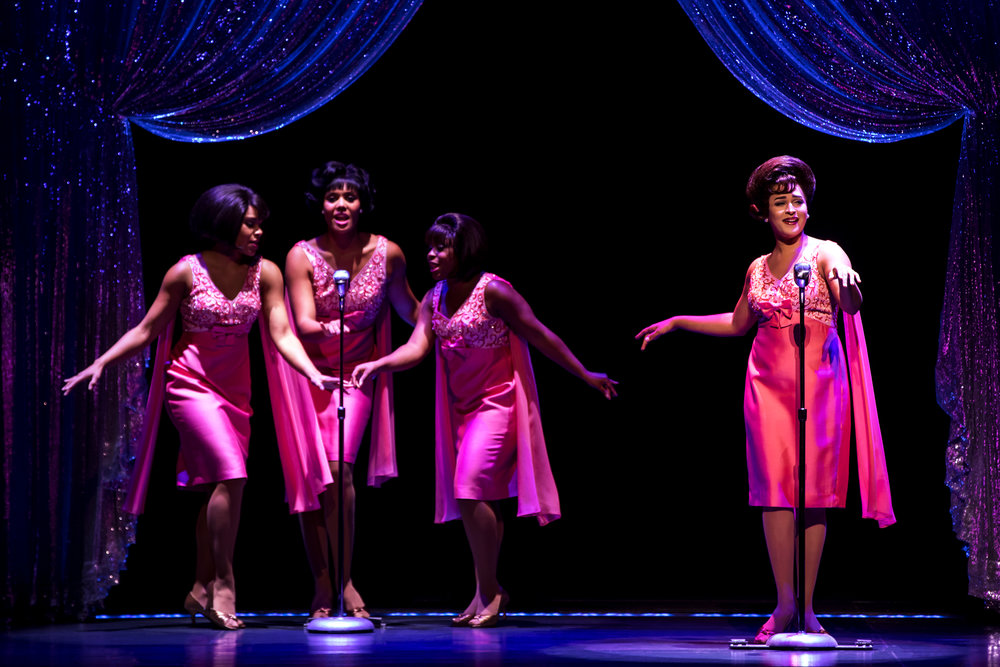 The Shirelles. (l to r) Traci Elaine Lee, McKynleigh Alden Abraham, Alexis Tidwell and Ximone Rose. Photo by Matthew Murphy.