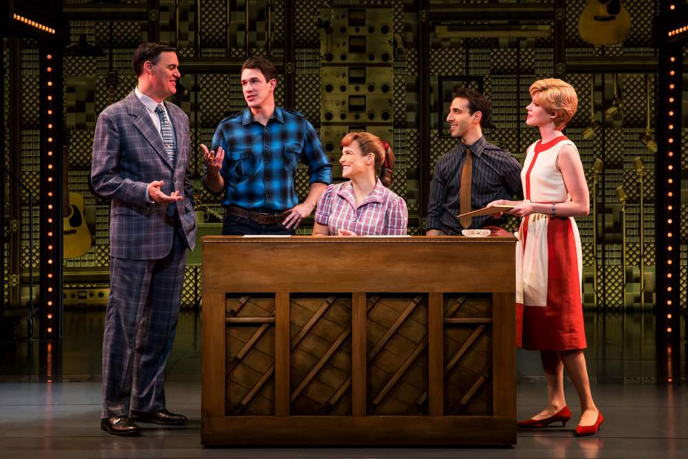 James Clow (Don Kirshner), Andrew Brewer (Gerry Goffin), Sarah Bockel (Carole King), Jacob Heimer (Barry Mann), and Sarah Goeke (Cynthia Weil). Photos by Matthew Murphy.