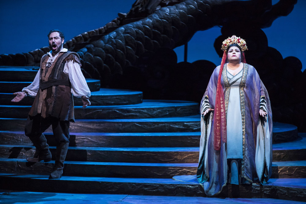 Stefano La Colla and Amber Wagner in TURANDOT at Lyric Opera. Photo by Todd Rosenberg