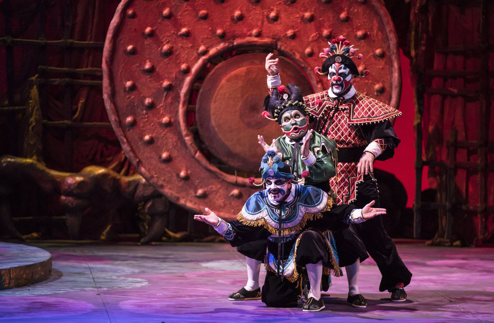Keith Jameson, Rodell Rosel, and Zachary Nelson in TURANDOT at Lyric Opera. Photo by Todd Rosenberg